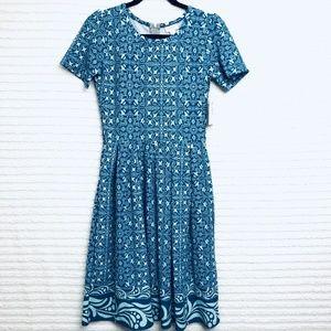 LuLaRoe Amelia Teal Dress Pleated Skirt Pockets